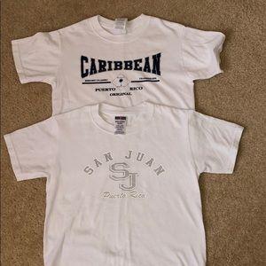 2 White Puerto Rico Unisex T-Shirts - Size S (6-8)